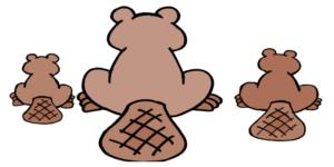 three cartoon beavers from behind